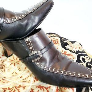 "Brighton ""Tempe"" embellished leather mules, sz 9.5"